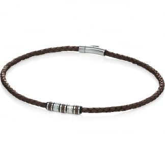 Men's Brown Leather Necklace with Bead Detail