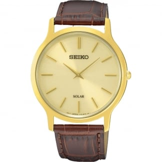 Men's Brown Leather Solar Gold Plated Watch