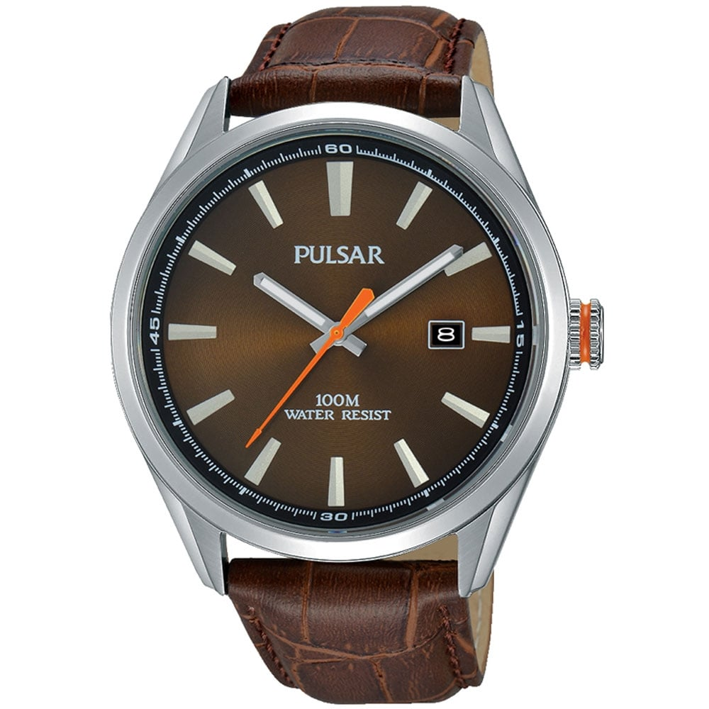 pulsar s brown leather watches from