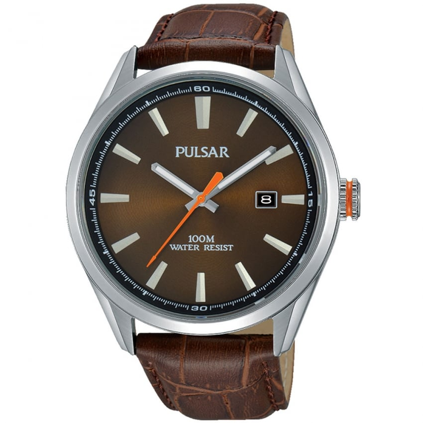 Pulsar Men's Brown Leather Strap Watch PS9379X1