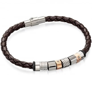 Men's Brown Leather with Gold and Steel Detail Bracelet