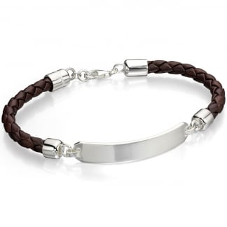 Men's Brown Leather with Steel ID Bracelet