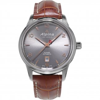 Men's Brown Leather Strap Automatic Alpiner Watch