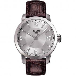 Men's Brown Leather Strap Steel Case PRC 200 Watch T055.410.16.037.00