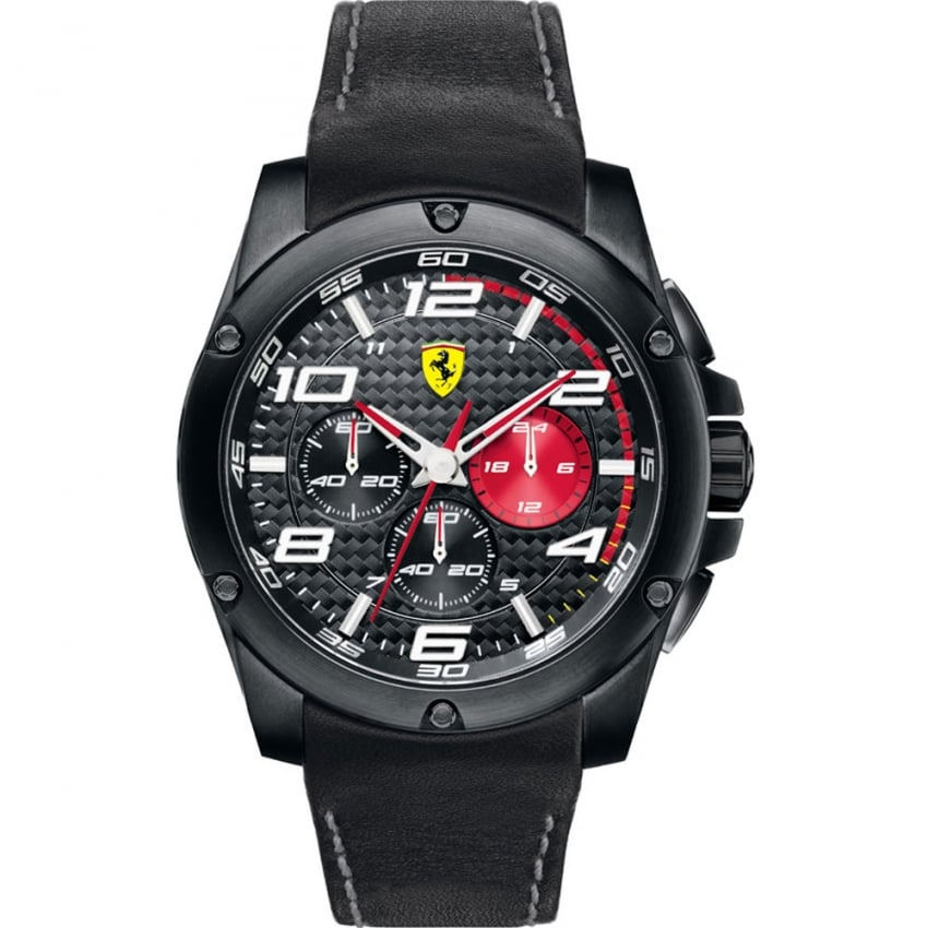 Men's Chronograph Black Dial Watch with Red Accents 0830030
