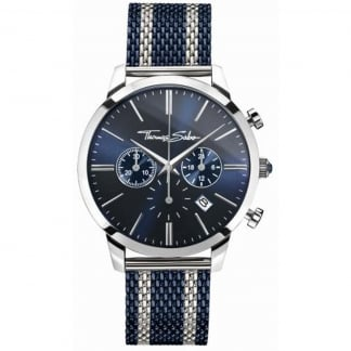 Men's Chronograph Blue Striped Rebel Spirit Watch