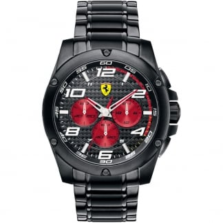 Men's Chronograph Watch with Black and Red Dial