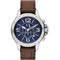 Armani Exchange Men's Chunky Leather Strap Watch AX1505