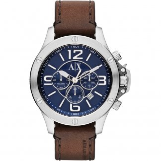 Men's Chunky Leather Strap Watch