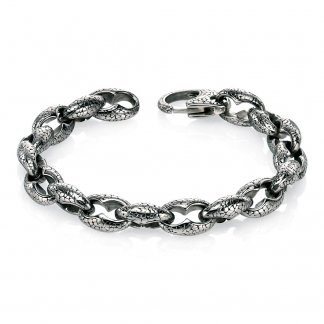 Men's Chunky Oxidised Steel Bracelet