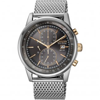 Men's Mesh Chronograph Eco-Drive Watch CA0336-52H