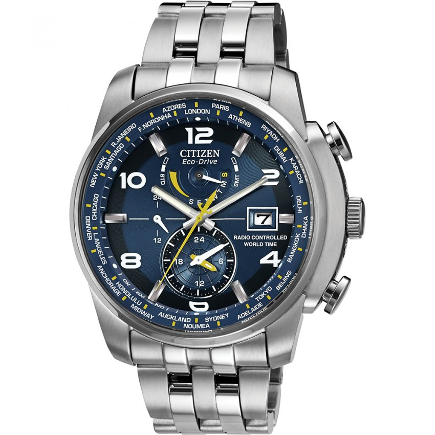 Citizen Men's Blue Dial World Time A.T Eco-Drive Watch AT9010-52L