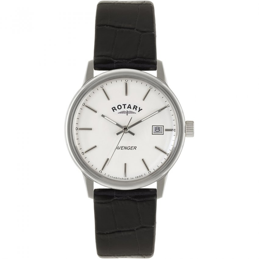 Rotary Men's Classic Avenger Black Leather Strap Watch GS02874/06
