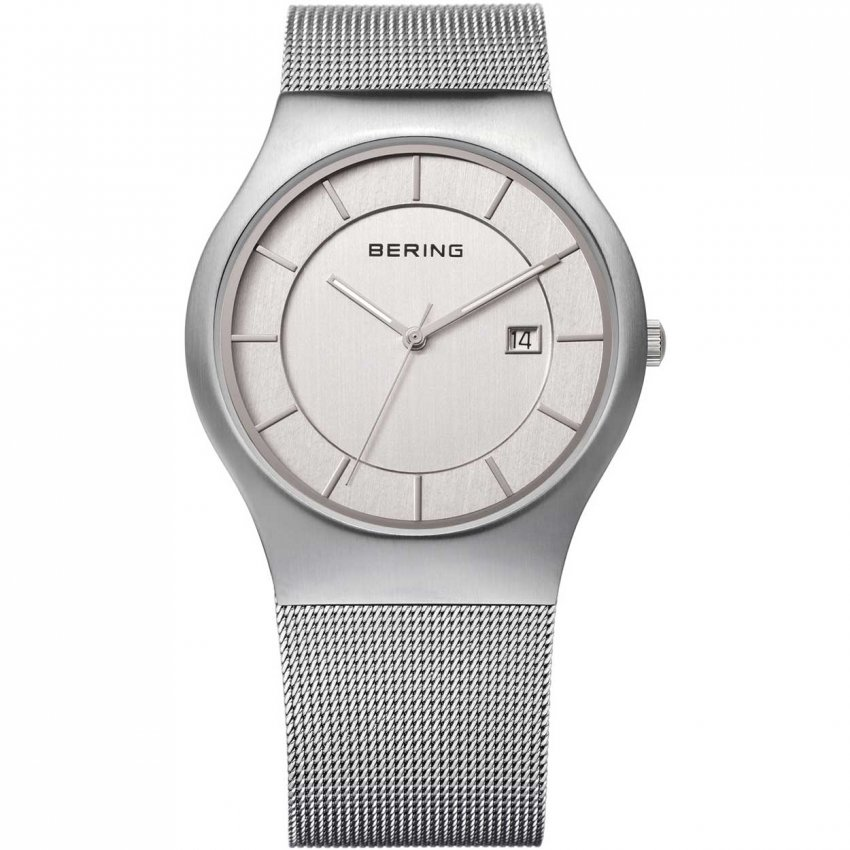 Bering Men's Classic Silver Mesh Watch With Date 11938-000