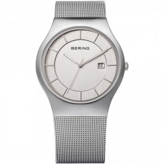 Men's Classic Silver Mesh Watch With Date