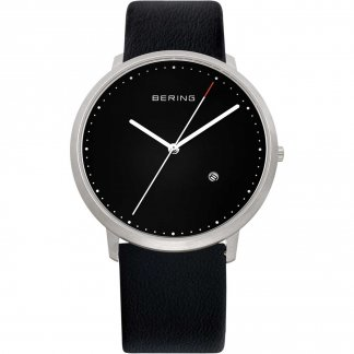Men's Classic Black Leather Date Watch