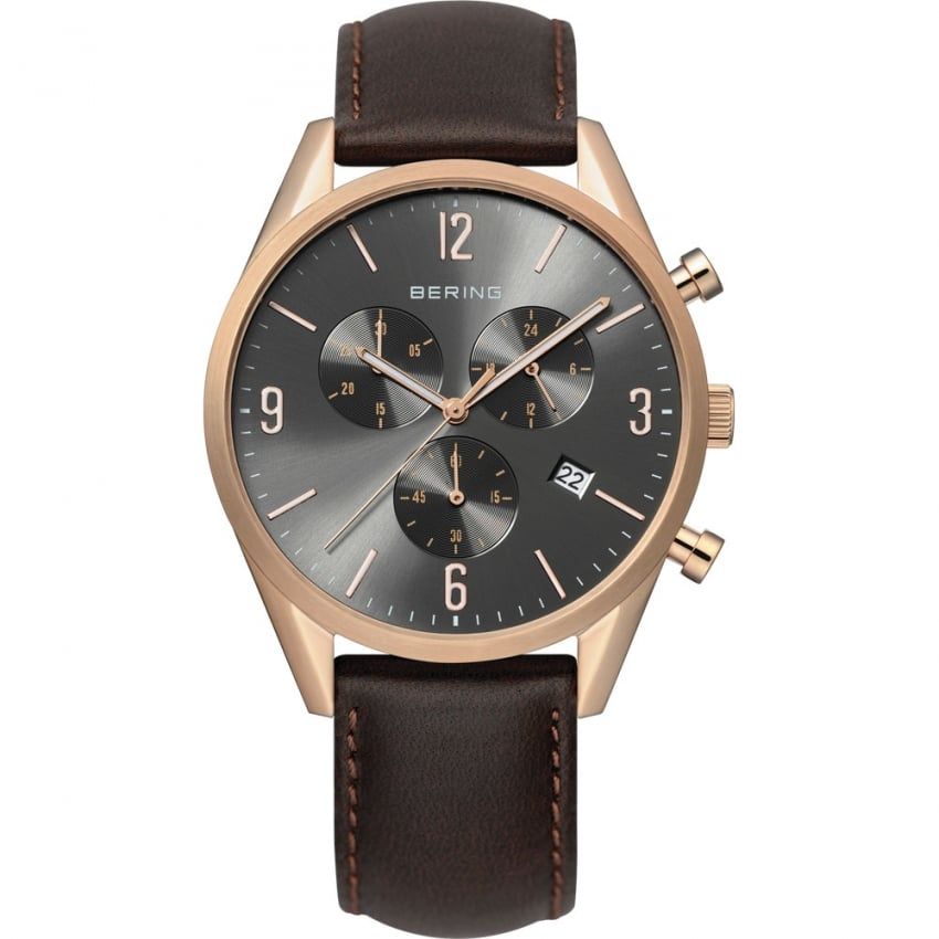 Bering Men's Classic Rose PVD Brown Leather Chronograph Watch 10542-562