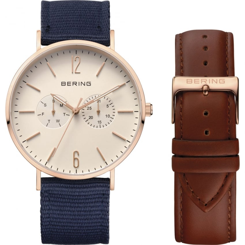 Bering Men's Classic Rose PVD Interchangable Day-Date Watch 14240-564