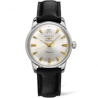 Men's Conquest Heritage Black Leather Automatic Watch