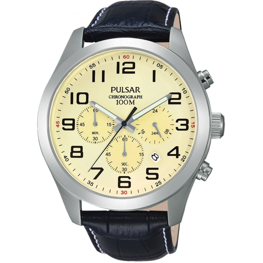 Pulsar Men's Cream Dial Black Leather Chronograph Watch PT3665X1