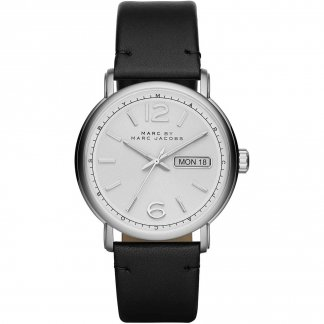 Men's Day/Date Black Leather Fergus Watch