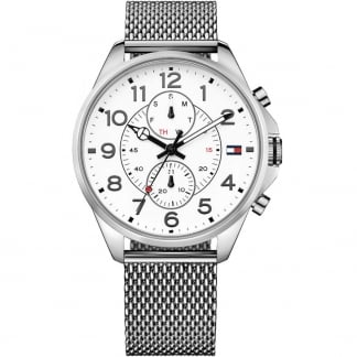 Men's Dean White Day-Date Dial Steel Mesh Watch