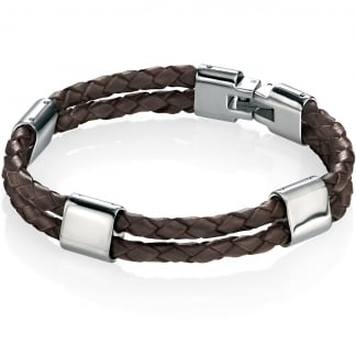 Men's Double Row Brown Leather Bracelet