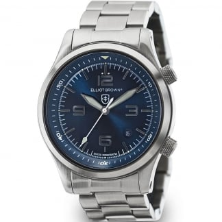 Men's Canford Steel and Blue Dial Date Display Watch 202-007-B02