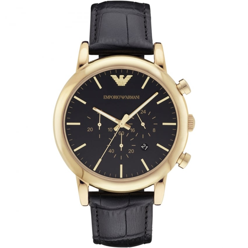 Emporio Armani Men's Gold Plated Black Leather Chronograph Watch AR1917