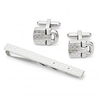 Men's Dress Steel Tiebar and Cufflinks Gift Set JF01521040