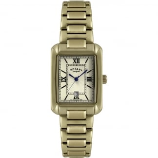 Men's Gold Plated Bracelet Watch With Date