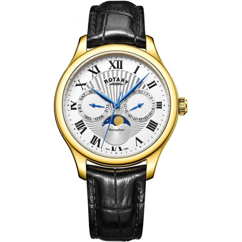 Rotary Men's Gold Plated Moonphase Leather Strap Watch GS05066/01