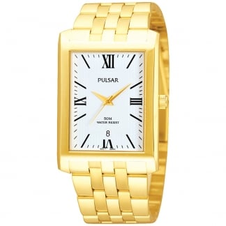 Men's Gold Plated Rectangular Watch