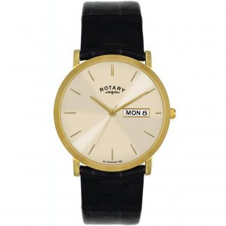Men's Gold Tone Day/Date Watch with Black Strap