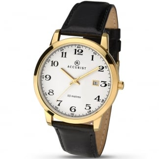 Men's Gold Tone Dress Watch With Arabic Dial