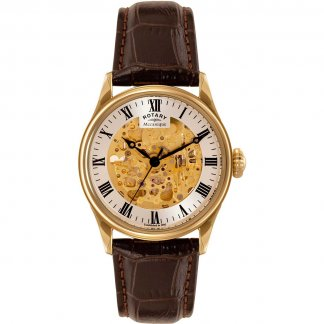 Men's Gold Tone Mechanical Skeleton Brown Leather Watch