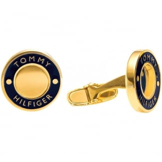 Men's Gold Tone Navy Blue Logo Cufflinks