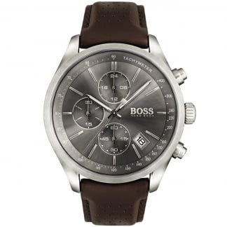Men's Grand Prix Brown Leather Chronograph Watch