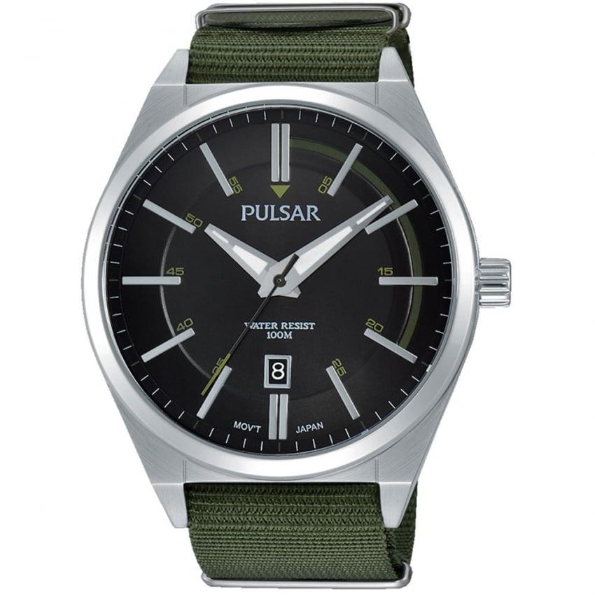 Pulsar Men's Green Fabric Strap Sport Watch PS9357X1