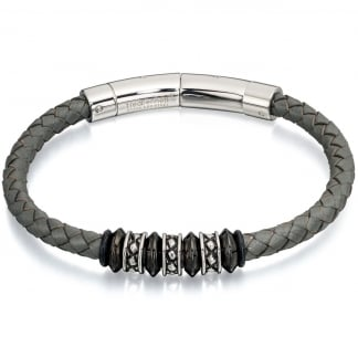 Men's Grey Leather Bracelet with Bead Detail