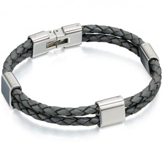 Men's Grey Leather Double Strand Bracelet