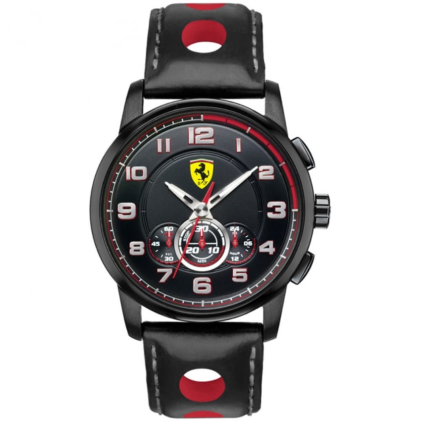 Scuderia Ferrari Men's Heritage Chronograph Watch with Leather Strap 0830059