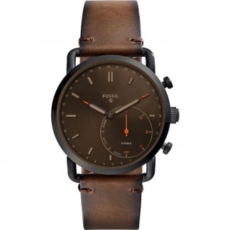Men's Hybrid Q Commuter Brown Leather Smartwatch