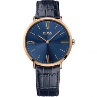 Men's Jackson Rose PVD Blue Leather Strap Watch