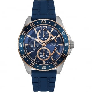 Men's Jet Blue Silicone Sport Chronograph Watch