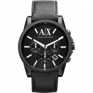 Men's Black PVD Leather Strap Watch AX2098