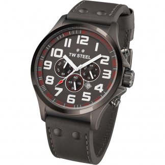 Men's 48MM Titanium Pilot Leather Strap Chrono Watch