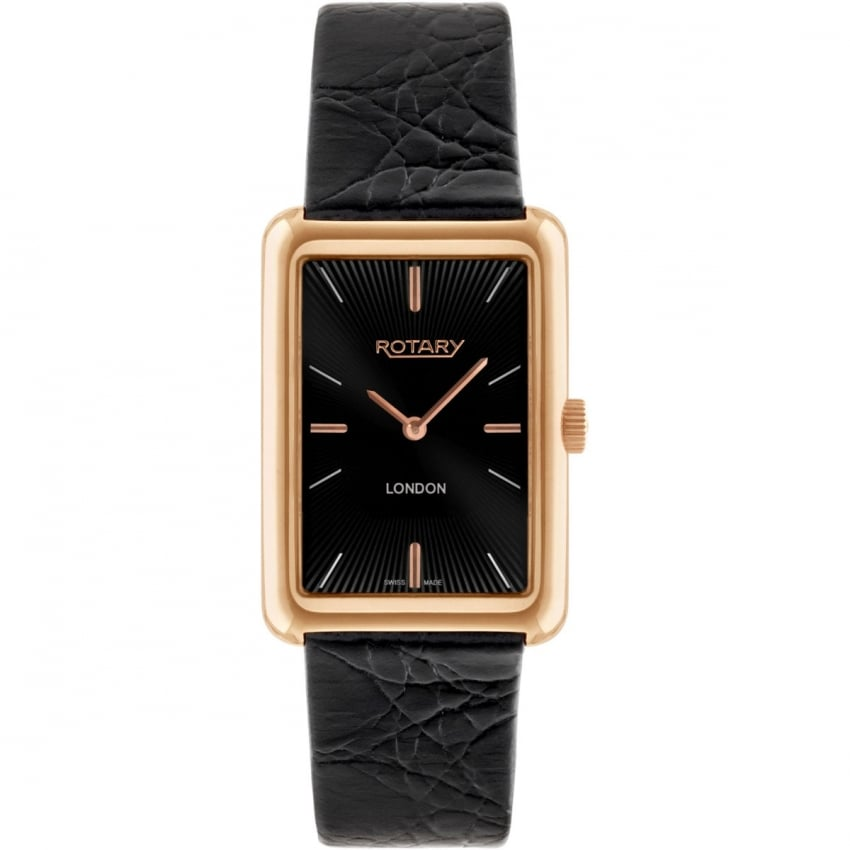 Rotary Men's London Rose Gold Black Strap Dress Watch GS90993/04