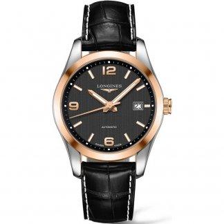 Men's Bi-Colour Conquest Classic Black Leather Watch L2.785.5.56.3