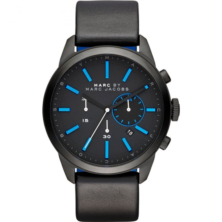 Marc Jacobs Men's Black with Blue Accents Dillon Watch MBM5096